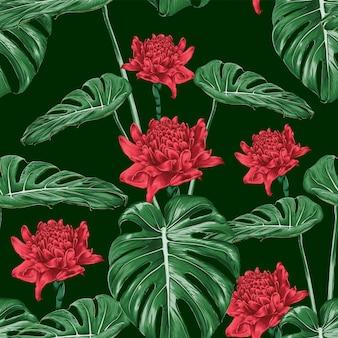 Sem costura padrão vermelho tocha gengibre flores e folha verde monstera em verde escuro