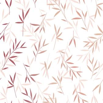 Sem costura rosa bonita ouro folhas de bambu padrão