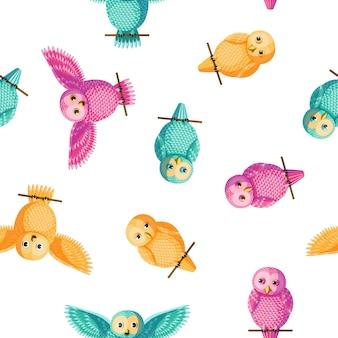 Sem costura vector multicolorido amarelo, rosa, padrão de coruja de turquesa.