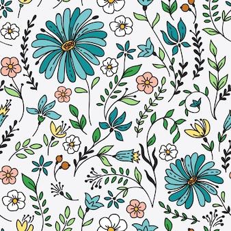 Sem costura vintage padrão com camomila e flores.