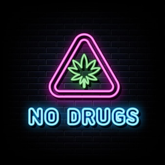 Sem drogas, sinais de néon, vetor, modelo de design, estilo néon