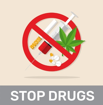 Sem drogas, sinais de parar drogas.