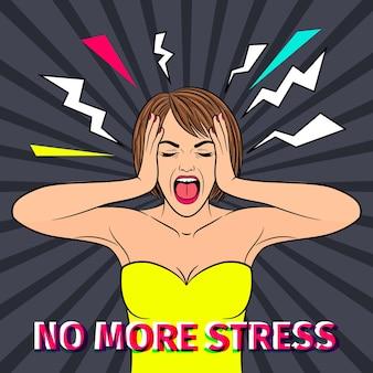 Sem estresse. rosto de mulher retrô chocado e assustado sem texto de estresse, ilustração vintage de garota gritando