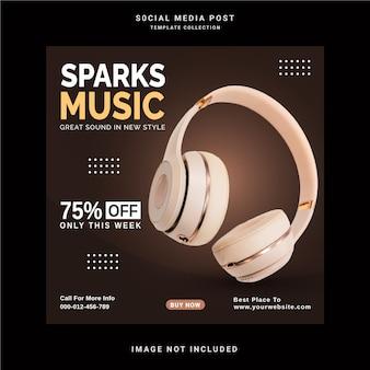 Sem fio on-line com bluetooth sparks music store banner de postagem no instagram modelo de postagem em mídia social