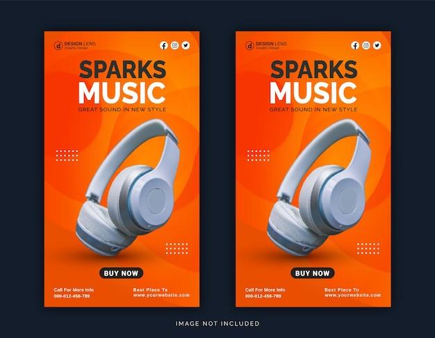 Sem fio on-line com bluetooth sparks music store post no instagram modelo de postagem em mídia social