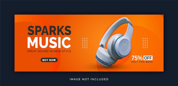 Sem fio online com bluetooth sparks music store banner de capa do facebook modelo de postagem em mídia social