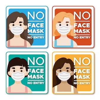 Sem máscara facial sinal de personagem sem entrada para mulheres