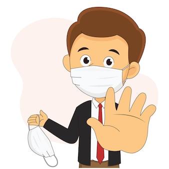 Sem máscara, sem entrada, homem de negócios usando máscara facial