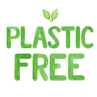 Sem plástico. letras em aquarela verdes