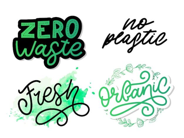 Sem plástico. mão desenhada letras de vetor.