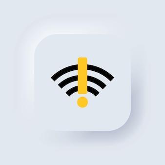 Sem sinal de internet. nenhum sinal de wifi. sem conexão. sem rede. botão da web da interface de usuário branco neumorphic ui ux. neumorfismo. vetor eps 10.