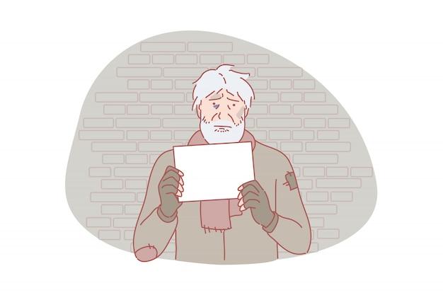 Sem-teto, pobreza, problema social, solicitação de ilustração