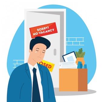 Sem vaga, desculpe, desemprego coronavirus covid 19, crise global, homem chorando e caixa com objetos escritório ilustração design