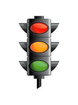 Semáforo com cor vermelha, amarela e verde.