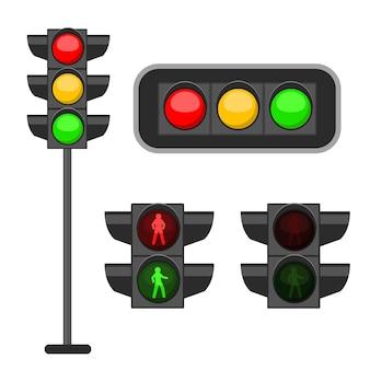 Semáforo. luzes led vermelhas, amarelas e verdes sinalizam regulamentação de rua, faixa de pedestres e segurança rodoviária, controle de acidentes, conjunto de vetores de banner de web design isolado no fundo