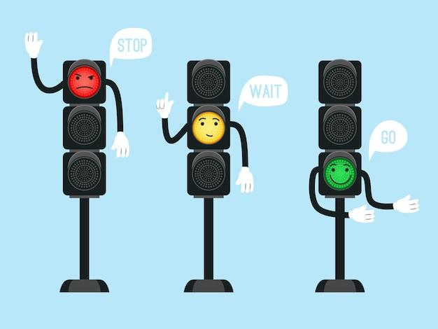 Semáforos dos desenhos animados. sinais de segurança para crianças no cruzamento de ruas, segurança urbana com semáforos para o transporte de veículos, ilustração vetorial, objetos de controle de tráfego na estrada