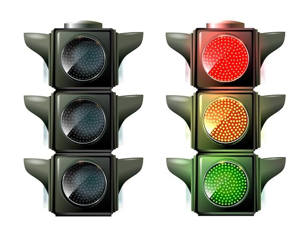 Semáforos isolados no branco