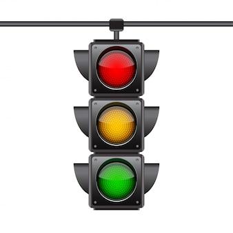 Semáforos pendurados com as três cores ligadas