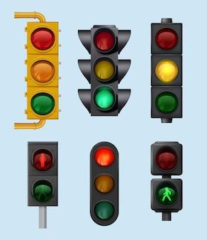 Semáforos urbanos. sinais para veículos de cidade iluminando objetos para conjunto realista de vetor de direção transversal de estrada. ilustração do controlador de encruzilhada, estrada de tráfego leve