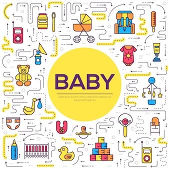 Semana de amamentação mundial em linha fina e conceito conjunto de ícones plana de elementos infantis