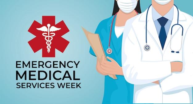 Semana de serviços médicos de emergência em maio. celebração anual nos estados unidos. design médico de ilustração