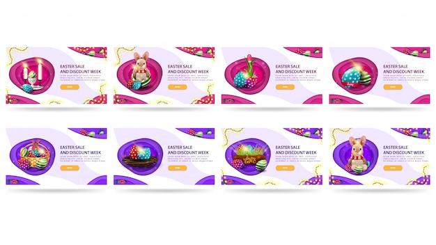 Semana de venda e desconto de páscoa, banner grande conjunto de descontos em estilo de corte de papel com moldura de guirlanda, ovos e botões