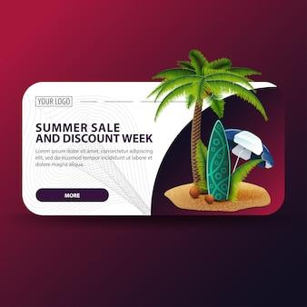 Semana de venda e desconto de ummer, banner horizontal com design moderno