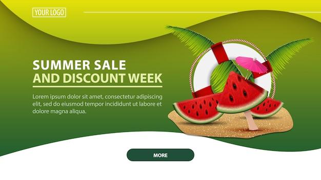 Semana de venda e desconto de ummer, banner horizontal moderno de desconto web para o seu site
