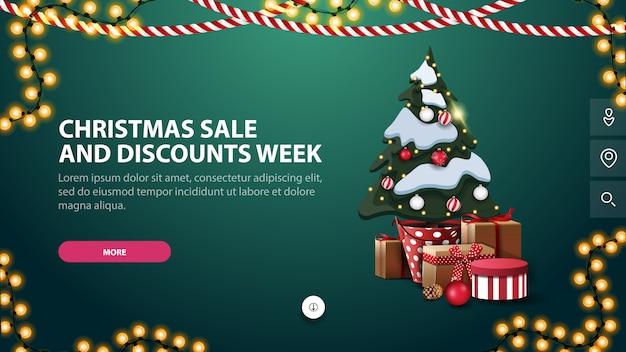 Semana de venda e descontos de natal, bandeira verde