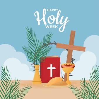 Semana santa celebração design plano