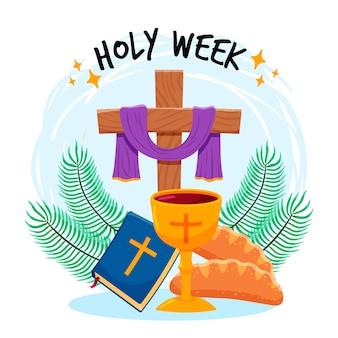 Semana santa com cruz e vinho