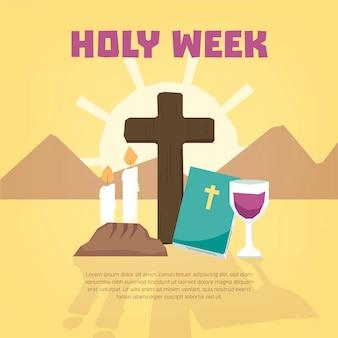 Semana santa de estilo mão desenhada