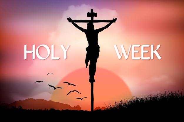 Semana santa realista com crucificação de jesus