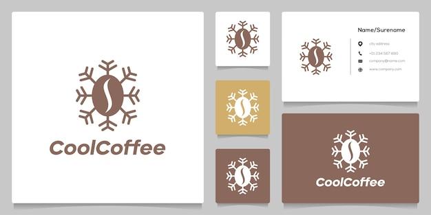 Semente de café e design de logotipo de ícone de congelamento com cartão de visita