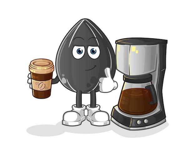 Semente de girassol, bebendo café. personagem