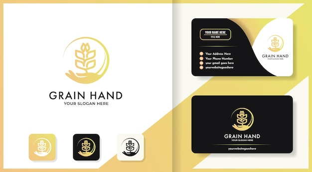 Semente de mão ou logotipo de grãos e design de cartão de visita