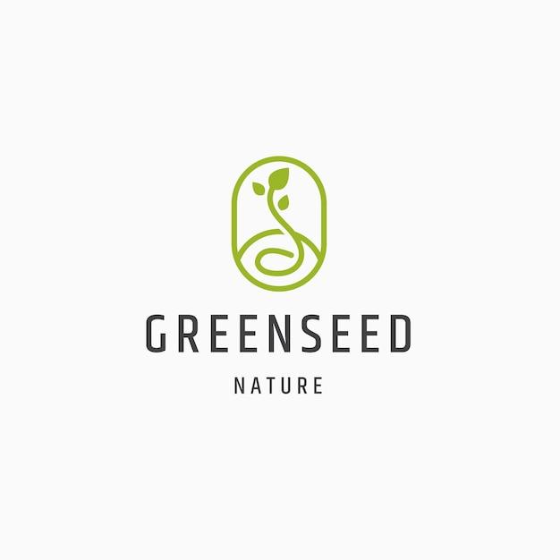 Semente verde natureza logotipo ícone design plano modelo ilustração vetorial