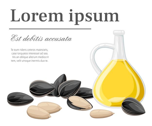 Sementes de girassol em uma casca e sem óleo de girassol pronto para comer em jarra de vidro ilustração com lugar para seu texto na página do site e aplicativo móvel com fundo branco