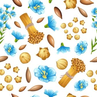 Sementes de linho sem costura padrão e flores.