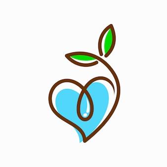 Sementes e logotipo de água que formaram coração