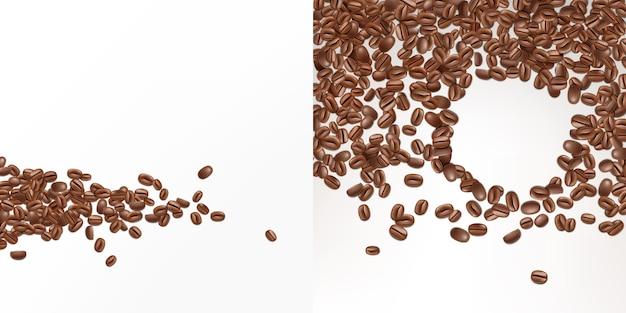 Sementes realistas do café 3d isoladas no fundo branco. vista superior de feijões frescos da goma-arábica.