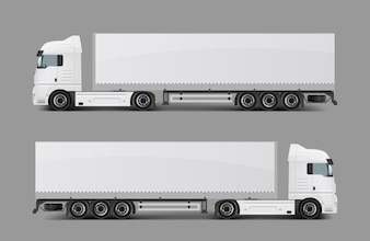Semi-caminhão de carga com vetor realista de reboque