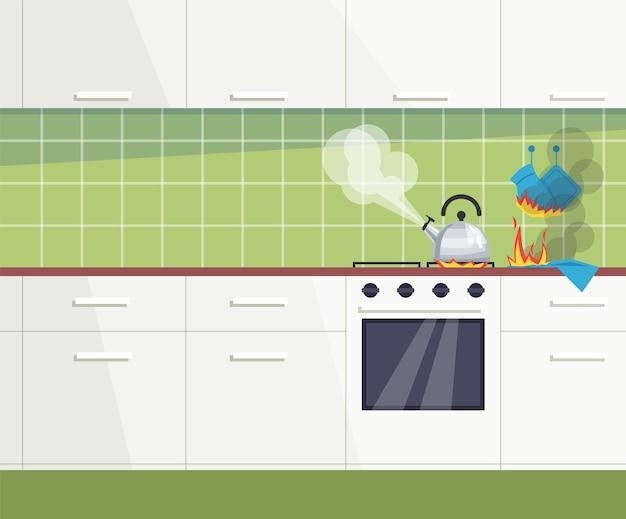 Semi ilustração de acidentes comuns de cozinha