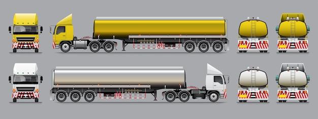 Semi-reboque caminhão-tanque modelo amarelo e tom de cor branca.