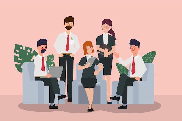 Seminário de executivos com reunião de negócios de trabalho em equipe profissional e de escritório