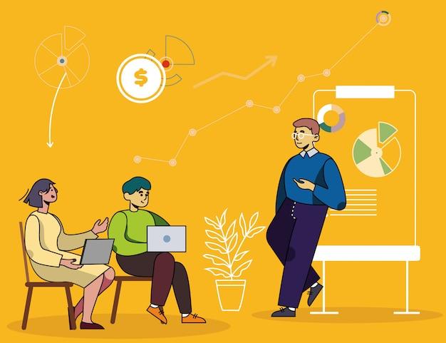 Seminário de negócios, curso financeiro ou de marketing