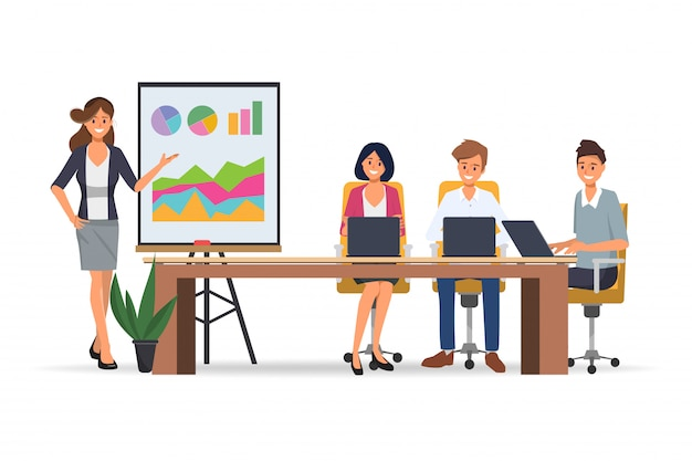Seminário de pessoas de negócios com apresentação profissional e reunião de negócios do trabalho em equipe do escritório.