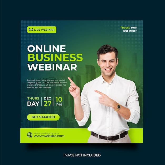 Seminário on-line ao vivo de marketing digital e modelo de postagem em mídia social corporativa