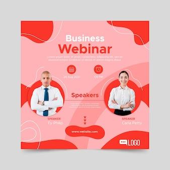 Seminário on-line de negócios de folheto plano ao quadrado