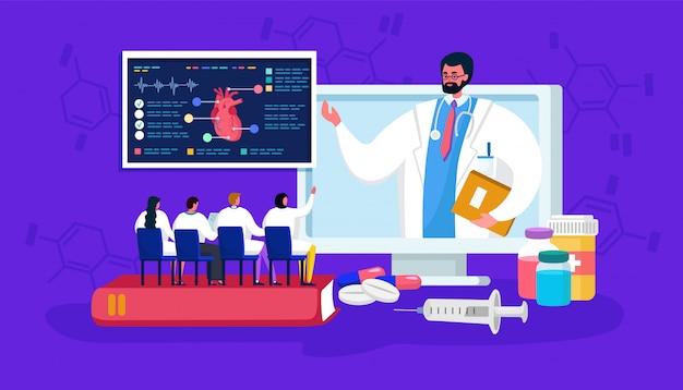 Seminário on-line médico, médico pequeno dos desenhos animados pessoas na conferência à distância de treinamento ou curso, educação em medicina